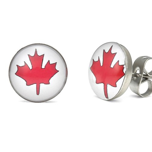 Canada Flag Symbol Rocking Maple Leaf Stainless Steel Mens Stud Earrings