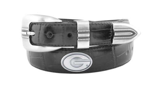 NCAA Georgia Bulldogs Black Crocodile Tip Leather Concho Belt, 36
