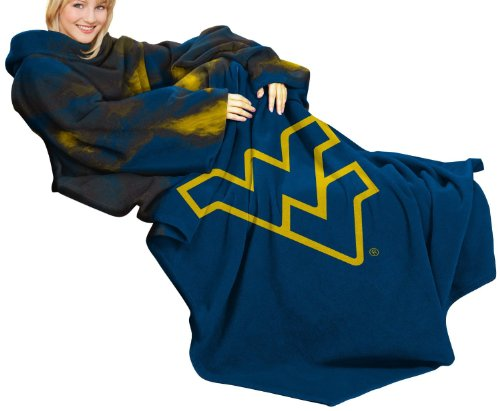 Northwest NCAA West Virginia Mountaineers Comfy Throw Blanket with Sleeves Smoke Design at Sears.com