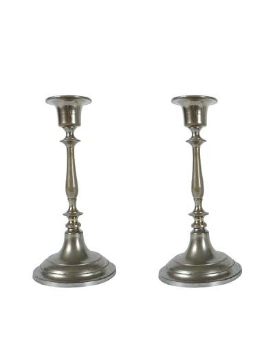 Pair of Jonkoping Nickel-Plate Candlesticks, Silver