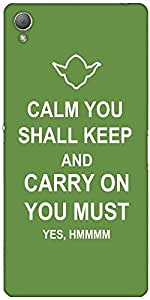 Snoogg Keep Calm And Carry On Case Cover For Sony Xperia Z3