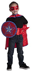 6 Item Bundle: Simply Hero Boys Red Cape, Reversible Mask, Sheild, Power Belt and Gauntlet Super Hero Set + Bonus Activity Book from Simply Hero