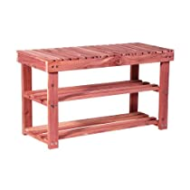 "Hot Sale CedarFresh 2-Tier Cedar Shoe Rack and Seat Bench, 31.5""w x 17.5""h x 12.4""d"