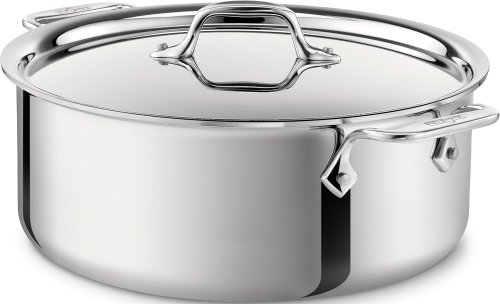 All-Clad 4506 Stainless Steel Tri-Ply Bonded Dishwasher Safe Stockpot with Lid / Cookware, 6-Quart, Silver (All Clad Stainless Kettle compare prices)