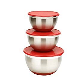 MIU 3-Piece Stainless-Steel Bowl Set with Lids, Red