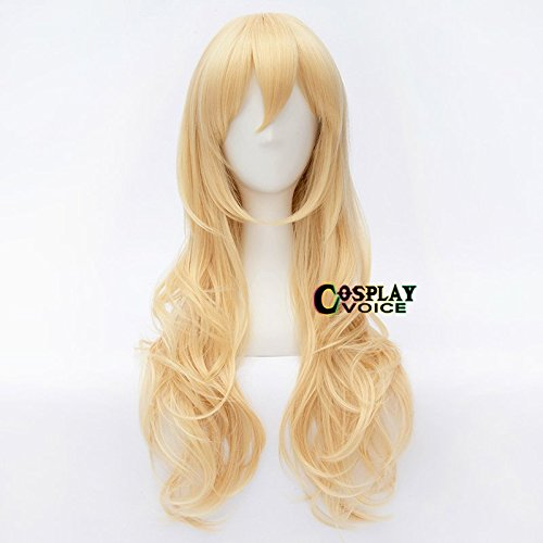 [Lolita Girls Blonde 25 Inches/65CM Long Curly Full Hair Cosplay Anime Party Wig+Cap] (Uso Girl Costume)