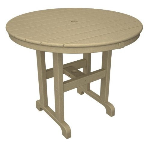 Recycled Earth-Friendly Outdoor Patio Round Dining Table - Khaki 42 outdoor recycled earth friendly bar table sand brown with silver frame