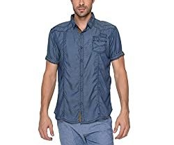 Copperstone Men's Casual Shirt (8903944590830_Blue_X-Large)
