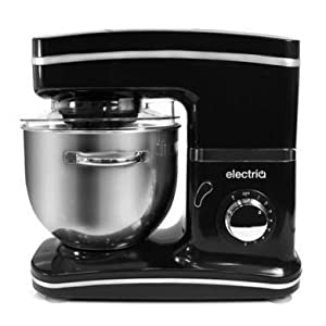 ElectriQ 5.2 litre Powerful 1500w Electric Food Stand Mixer In Black with 4 Attachments, 8 Speeds, Splash Guard, 5.2 Litre Bowl, And Spatula, Dough Hook, Flexible Beater, Aliminium Beater and Balloon Whisk by ElectrIQ