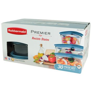 Rubbermaid Premier 30pc Resists Stains Includes Easy Find Lids - BPA Free