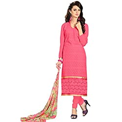 Women Icon Georgette Pink Embroidered Women's Chudidar WICKFBRCRS1001