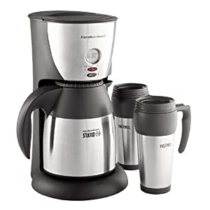 Hamilton Beach Stay or Go Coffee Maker with Thermal Carafe and Two Travel Mugs