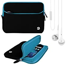 buy (Blue Trim) Vg Neoprene Sleeve Cover For Lenovo Ideatab A3000 7-Inch Android 4.2 Tablet + White Vangoddy Headphones