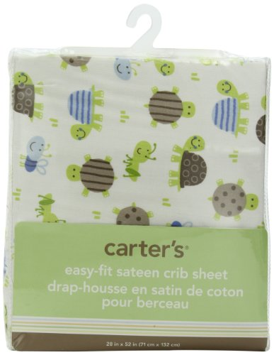 Carter'S Easy Fit Printed Crib Fitted Sheet, Turtle (Discontinued By Manufacturer)