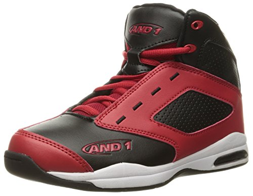 AND 1 Kids' Typhoon AU Skate Shoe, Black/Red/Black, 5 M US Big Kid