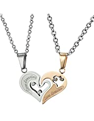 Via Mazzini 316L Stainless Steel Love Devotion Crystal Couple Necklaces (NK0387)