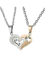 Via Mazzini 316L Stainless Steel Love Devotion Crystal Couple Necklaces (NK0387)