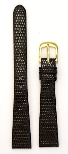 Ladies'Lizard Grain Leather Watchband, Color Brown, Size 10mm, Watch Strap