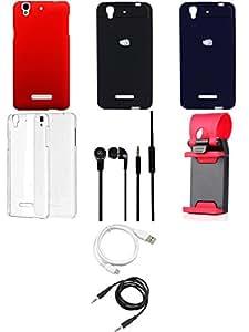 NIROSHA Cover Case Headphone USB Cable Mobile Holder car Combo for YU Yureka Combo