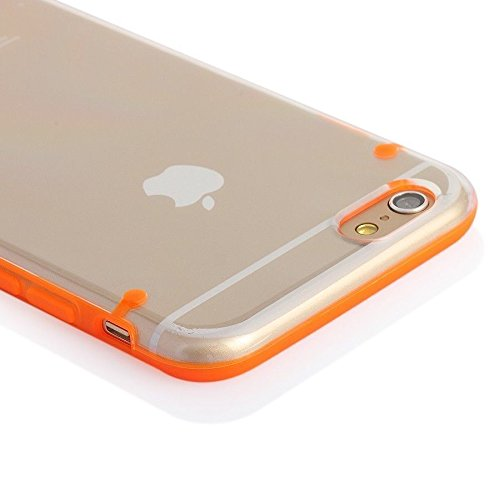 "Tech Express (Tm) Tpu Bumper Ultra Thin Transparent Clear + Color Back Hard Cover Case For Apple Iphone 6 4.7"" (Orange)"
