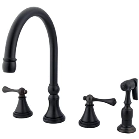 Kingston Brass KS2795BLBS 8-Inch Deck Mount Kitchen Faucet With Brass Sprayer, Oil Rubbed Bronze