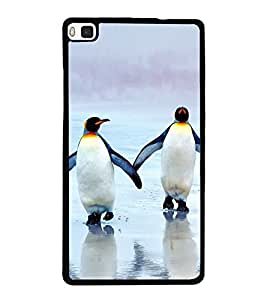 Penguins on Beach 2D Hard Polycarbonate Designer Back Case Cover for Huawei P8
