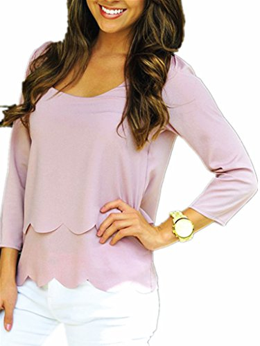 Persun Women Open Back Two-layer Scallop Trims Blouse