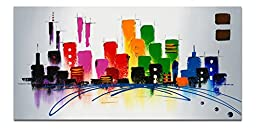 Wieco Art - Cityscape Extra Large Colorful City 100% Hand Painted Modern Gallery Wrapped Abstract Landscape Oil Paintings on Canvas Wall Art Ready to Hang for Living Room Bedroom Home Decorations