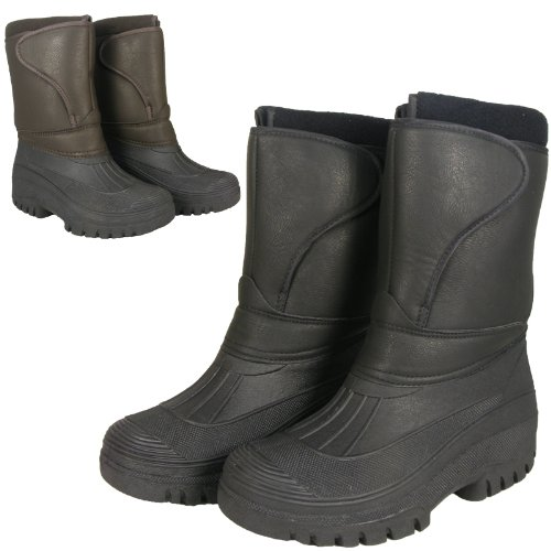 Adults Waterproof Sole Black Brown Fleece Lined Winter Yard Snow Rain Wellies Mucker Boots Size UK 3-11