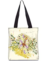 Snoogg Colorful Floral Vector Illustration Fashion Printed Shopping Shoulder Lunch Tote Bag For Women