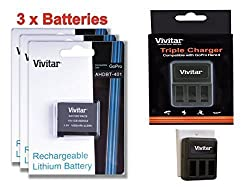 3 Pack of AHDBT-401 High Capacity 1650 mAh Li-ion Replacement Batteries for GoPro HD HERO4 (VIV-GB-HERO4) + Vivitar Triple Battery Charger (VIV-QC-8203)
