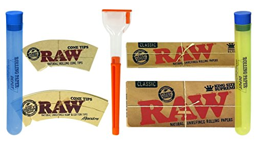 Bundle - 7 Items - Cone Artist Cone Roller with Raw Rolling Papers, Cone Tips and More