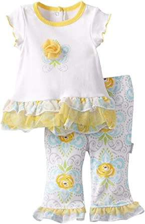 Vitamins Baby-Girls Newborn Rose and Baroque 2 Piece Pant Set, Yellow, 9 Months