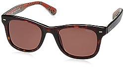Police UV Protected Wayfarer Unisex Sunglasses (S1861M50722SG 50 Brown lens)