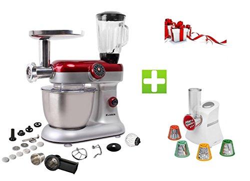 Klaiser Pack Robot Pétrin Pâtisser Multifonctions Kitchen Mix Km284MEX Professional avec Machine à pâtes et Kit Tranchoir / Râpe ET Magic Hachoir Multi