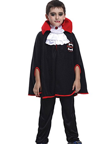 Chuangmei Children's Vampire Suit Black Halloween Costume Masquerade