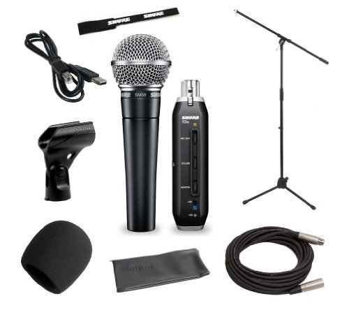 Shure Home Recording Studio Start-Up Kit With Shure Sm58 Vocal Microphone, Shure X2U Xlr-To-Usb Audio Interface, 20-Foot Xlr Cable, Boom Stand, Windscreen, And A25D Mic Clip