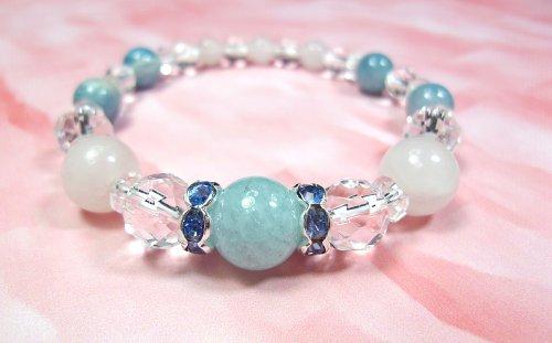 Aquamarine & Crystal & quartz bracelet ★ summer model color ★ [cool]