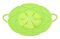 GAMT Multi-function Cooking Tools Flower Cookware Parts Silicone Boil Over Spill lid Stopper Oven Safe For Pot/Pan Cover 9.3'Spill Stopper Green Color