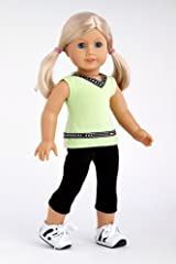 Move It! - Workout outfit includes black leggings, green tank top and running shoes - American Girl Doll Clothes