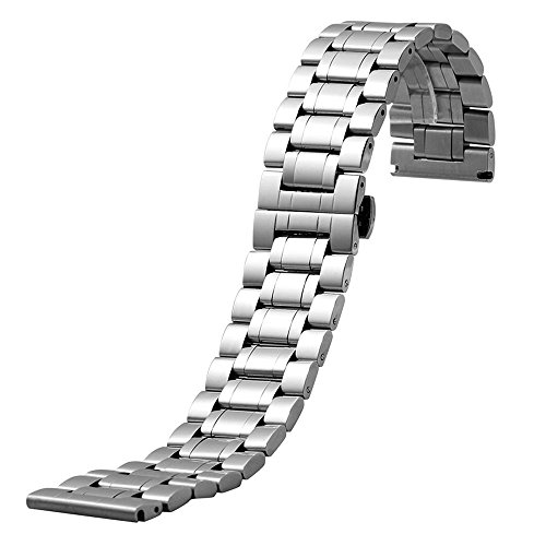 YISUYA 28 mm, da uomo, in argento e acciaio inossidabile, larghezza 2,8 cm, Cinturino per orologio da polso con bottone a scomparsa, chiusura a farfalla, regalo per orologio