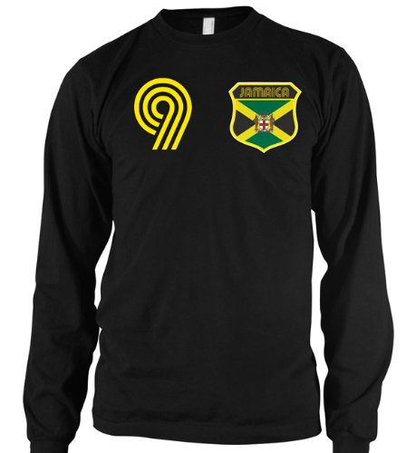 Jamaican Crest International Retro Soccer Mens Thermal Shirt, Jamaica National Pride Mens Long Sleeve Thermal Shirt