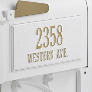 Personalized Mailbox Side Panel Finish: White and Gold