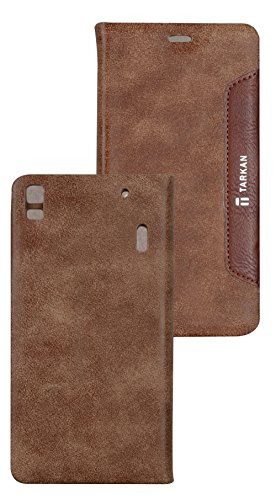 Tarkan Authentic Smart PU Leather Magnetic Flip Case Cover with Convertible Back Stand For Lenovo A7000 / K3 Note / K3 Note Music (Brown)