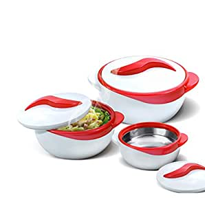 buy set of 3 thermo dish hot or cold casserole serving bowls with lids red online at low prices. Black Bedroom Furniture Sets. Home Design Ideas