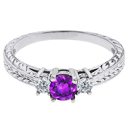 0.60 Ct Round Purple Amethyst G/H Diamond 18K White Gold 3-Stone Ring