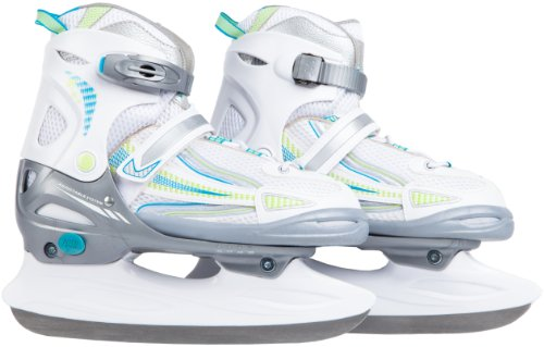 Ultrasport Girl's Adjustable Size Ice Skates - White/Cyan, Size 3.5 - 5.5 (EU: 36 - 39)