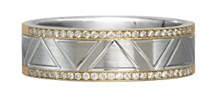 Diamond 14K Yellow Gold and Platinum Wedding Ring Band - Gay Wedding