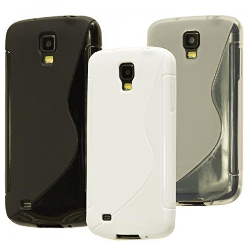 ECENCE Samsung Galaxy S4 Active i9295 3in1 Zubehör Set case schutz hülle handy tasche cover schale schwarz, weiß, transparent 32040506