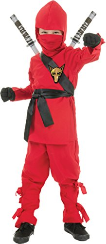 Boys Ninja Red Kids Child Fancy Dress Party Halloween Costume